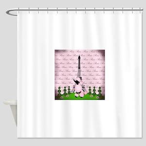 Vintage Pink Paris Shower Curtain