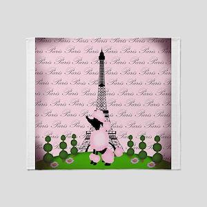 Vintage Pink Paris Throw Blanket
