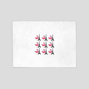 Pink Flamingos Paris Pattern 5'x7'Area Rug