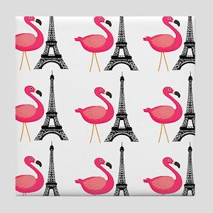 Pink Flamingos Paris Pattern Tile Coaster