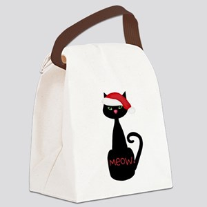 Meow Christmas Cat Black Canvas Lunch Bag