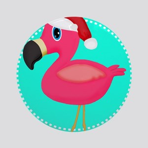 Teal Pink Christmas Flamingo Ornament (Round)