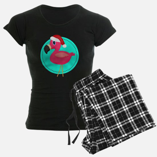 Teal Pink Christmas Flamingo Pajamas