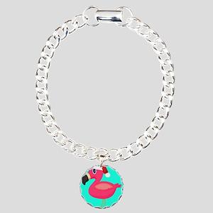 Teal Pink Christmas Flamingo Bracelet