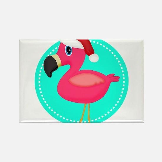 Teal Pink Christmas Flamingo Magnets