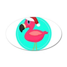 Teal Pink Christmas Flamingo Wall Decal
