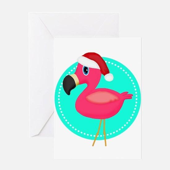 Teal Pink Christmas Flamingo Greeting Cards
