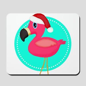 Teal Pink Christmas Flamingo Mousepad