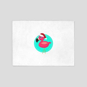 Teal Pink Christmas Flamingo 5'x7'Area Rug