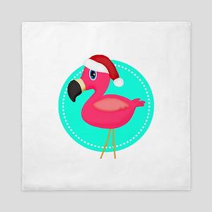 Teal Pink Christmas Flamingo Queen Duvet