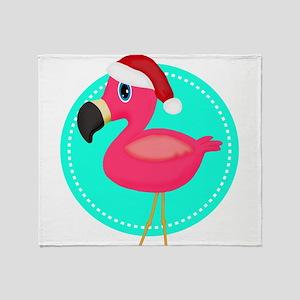 Teal Pink Christmas Flamingo Throw Blanket