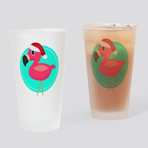 Teal Pink Christmas Flamingo Drinking Glass