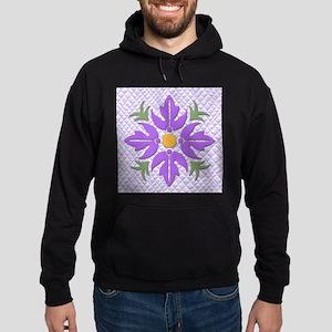 Hawaiian Style Flower Quilt Purple Hoodie (dark)
