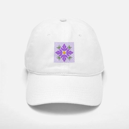 Hawaiian Style Flower Quilt Purple Baseball Baseball Cap