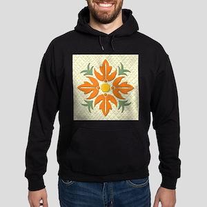 Hawaiian Style Flower Quilt Orange Hoodie (dark)
