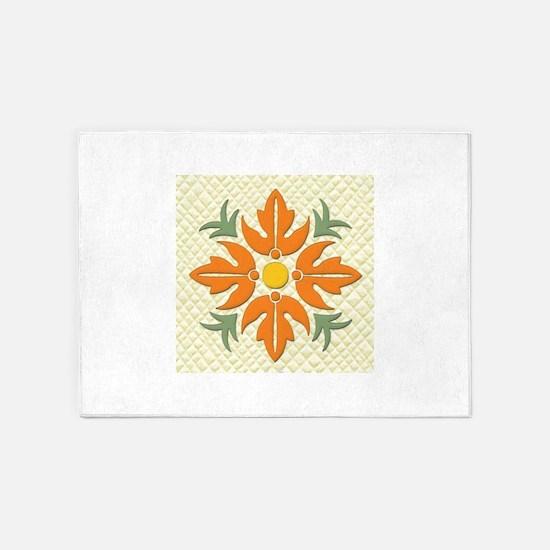 Hawaiian Style Flower Quilt Orange 5 X7 Area Rug