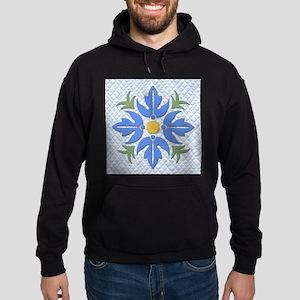 Hawaiian Style Flower Quilt Blue Hoodie (dark)