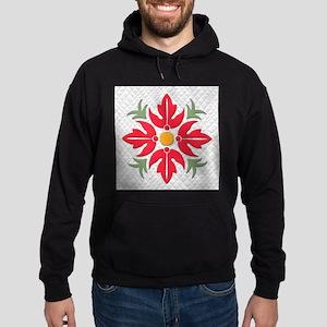 Hawaiian Style Flower Quilt Red Hoodie (dark)