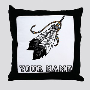 Native American Feathers (Custom) Throw Pillow