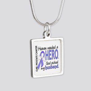 Prostate Cancer HeavenNeed Silver Square Necklace