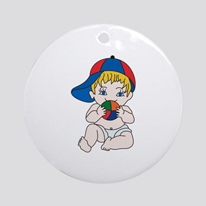 Baby Boy with Ball Ornament (Round)