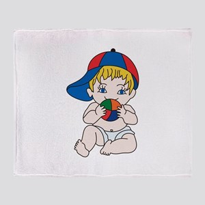 Baby Boy with Ball Throw Blanket
