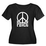 Peace Women's Plus Size Scoop Neck Dark T-Shirt