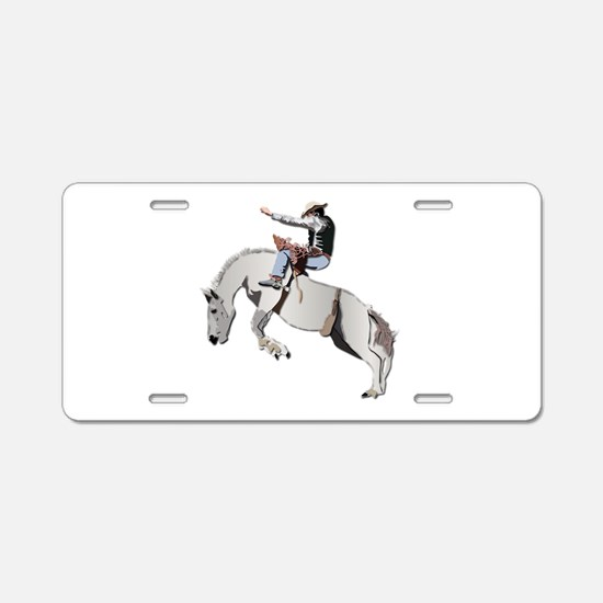 Bronc Rider Aluminum License Plate