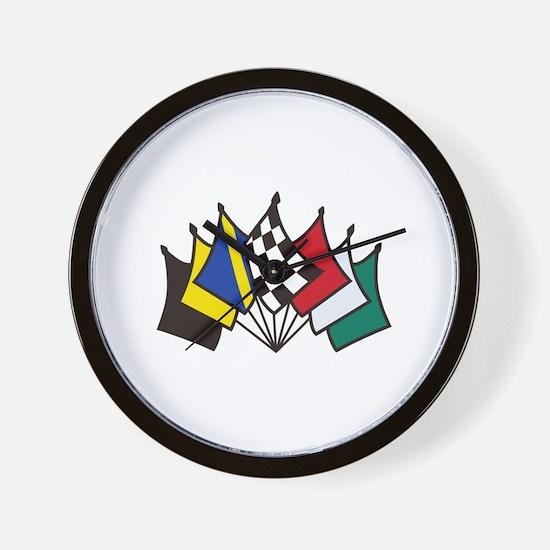 7 Racing Flags Wall Clock