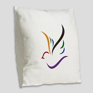 Abstract Dove Burlap Throw Pillow