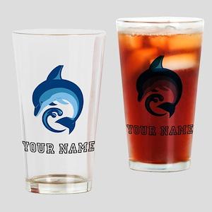 Blue Dolphin (Custom) Drinking Glass