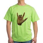 I Love You ILY Hand Green T-Shirt
