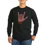 I Love You ILY Hand Long Sleeve Dark T-Shirt