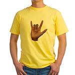 I Love You ILY Hand Yellow T-Shirt