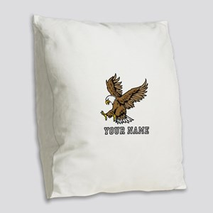 Bald Eagle (Custom) Burlap Throw Pillow