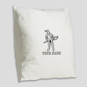 Medieval Knight Suit (Custom) Burlap Throw Pillow