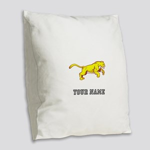 Cougar (Custom) Burlap Throw Pillow
