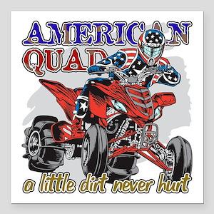 """American Quad Square Car Magnet 3"""" x 3"""""""