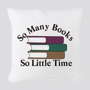 So Many Books Woven Throw Pillow