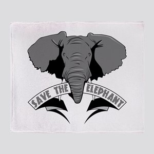 Save The Elephant Throw Blanket