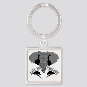 Save The Elephant Square Keychain