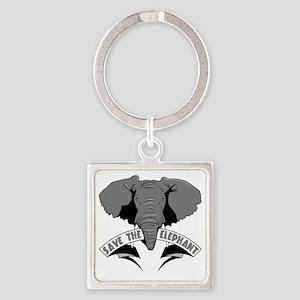 Save The Elephant Square Keychain