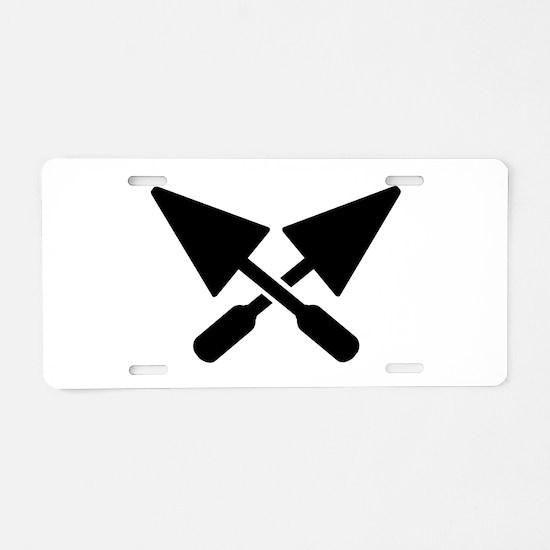 Mason crossed trowel Aluminum License Plate