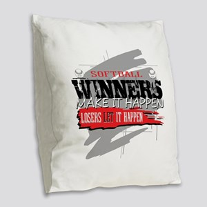 Winners and Losers Softball Burlap Throw Pillow