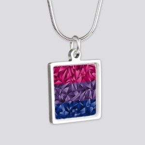 Abstract Bisexual Flag Silver Square Necklace