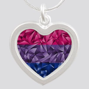 Abstract Bisexual Flag Silver Heart Necklace