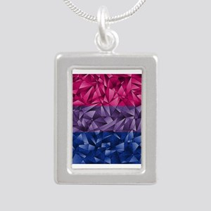 Abstract Bisexual Flag Silver Portrait Necklace