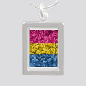 Abstract Pansexual Flag Silver Portrait Necklace