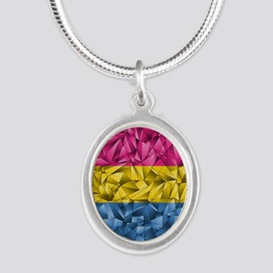 Abstract Pansexual Flag Silver Oval Necklace
