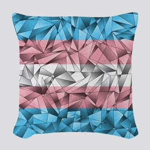 Abstract Transgender Flag Woven Throw Pillow